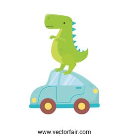 kids toy, green dinosaur and blue car toys