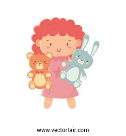 kids toy, little doll with teddy bear and rabbit