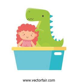 kids toy, green dinosaur and doll in bucket toys