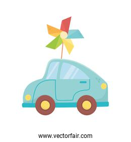 kids toy, plastic blue car and pinwheel toys