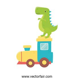 kids toy, green dinosaur and plastic train toys