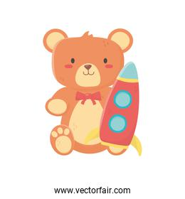kids toy, teddy bear and plastic rocket toys