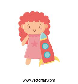 kids toy, cute little doll with pink dress and rocket toys
