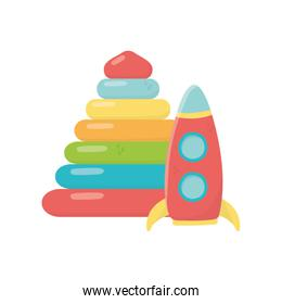 kids toy, plastic pyramid and rocket icons