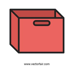 red cardboard box with handles icon