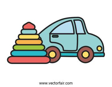 kids toy, blue car and rubber pyramid toys