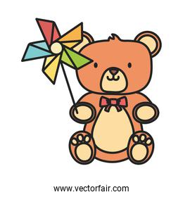 teddy bear and pinwheel with stick toys