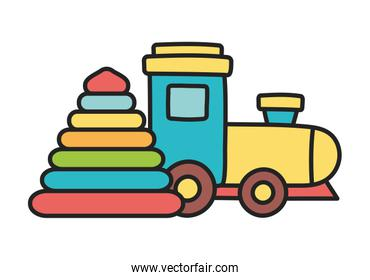 kids toy, rubber pyramid and plastic train toys