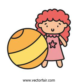 kids toy, yellow beach ball and cute doll, flat style