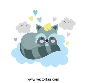 baby shower cute raccoon sleeping on clouds hearts cartoon