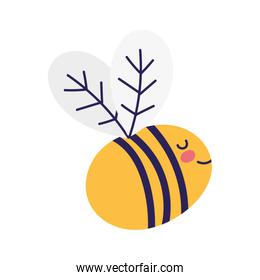 cute bee flying insect cartoon icon