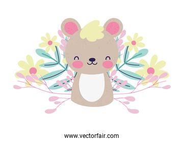 baby shower cute little bear flowers foliage