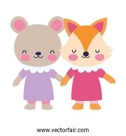 baby shower female bear and fox with dress holding hands