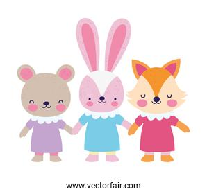 baby shower female bear rabbit and fox with dress holding hands
