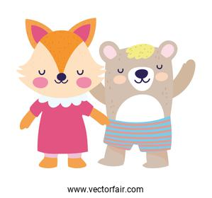 baby shower cute little female fox and bear with pants