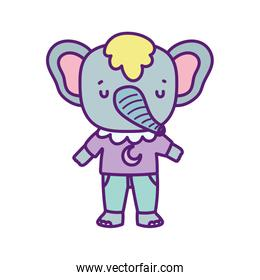 baby shower cute elephant with clothes cartoon