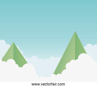 origami paper mountains clouds sky background