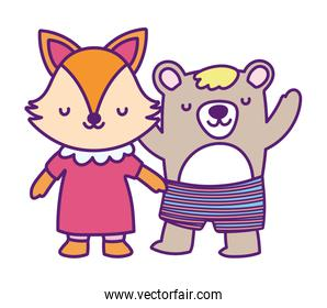 baby shower cute little female fox and bear with pants cartoon