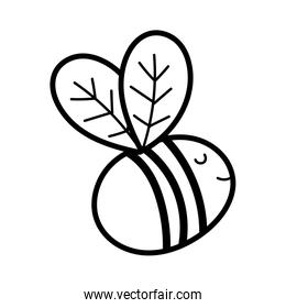 cute bee flying insect cartoon icon line style