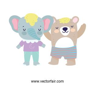 baby shower cute elephant and bear with clothes cartoon