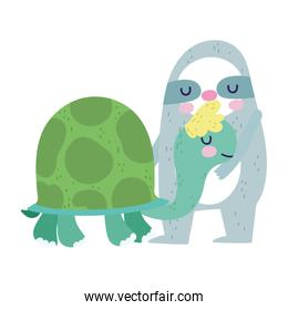 baby shower cute sloth and turtle cartoon