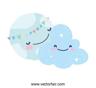 baby shower cute world hearts love cloud cartoon