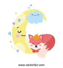 baby shower cute fox sleeping cloud moon cartoon
