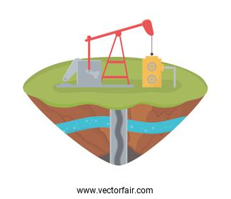 fracking rig petroleum extraction soil layer water underground