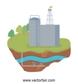 fracking refinery oil rig soil layer water underground