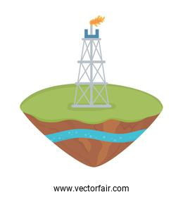 fracking drilling rig extraction soil layer water underground