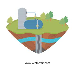 fracking industry extraction tank oil soil layer water underground