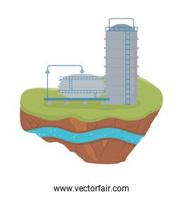 fracking tanks with stairs soil layer water underground