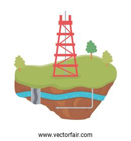fracking tower pipe gas soil layer water underground
