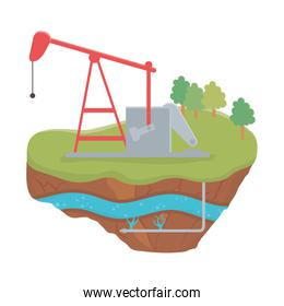 fracking oil rig drilling soil layer water underground