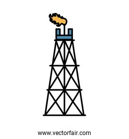 fracking tower refinery oil rig isolated icon