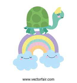 baby shower cute turtle on rainbow with clouds cartoon
