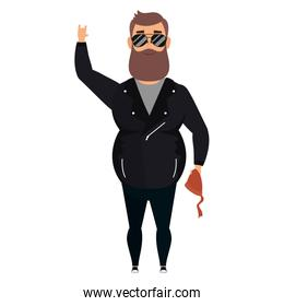 motorcyclist man with beard avatar character