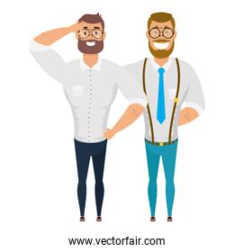elegant young men with beard avatars characters