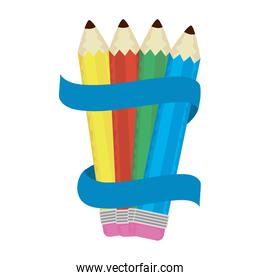 set pencils colors with ribbon