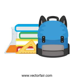 school bag with tube test and books