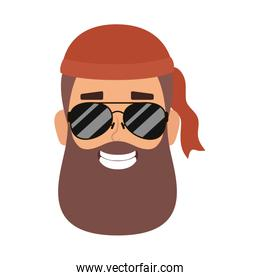 motorcyclist man with beard and sunglasses head