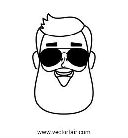 young man head with beard and sunglasses