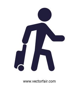 silhouette human with suitcasde signal airport