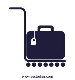 suitcase travel baggage in cart transport