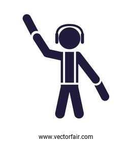 silhouette human airport worker signal