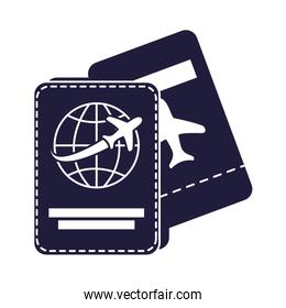 airplane flying transport in tickets flight and passport