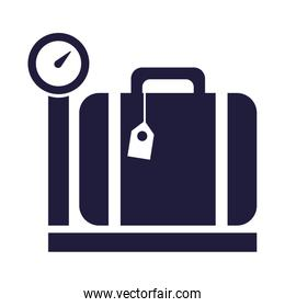 travel  suitcase baggage in scale balance