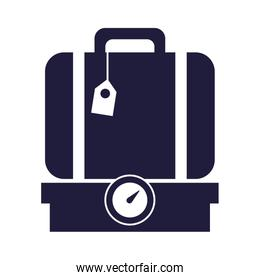 suitcase travel baggage in scale balance
