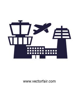 airplane flying transport with airport buildings