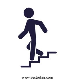 human silhouette going down the stairs signal